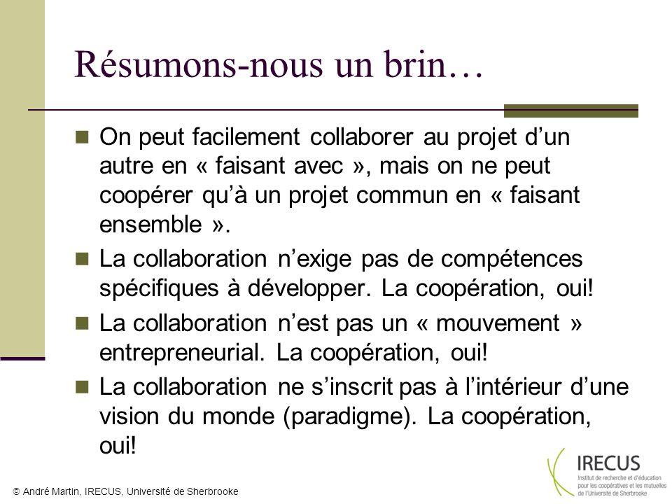 André Martin, IRECUS, Université de Sherbrooke Résumons-nous un brin… On peut facilement collaborer au projet dun autre en « faisant avec », mais on n