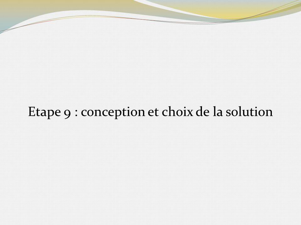 Etape 9 : conception et choix de la solution