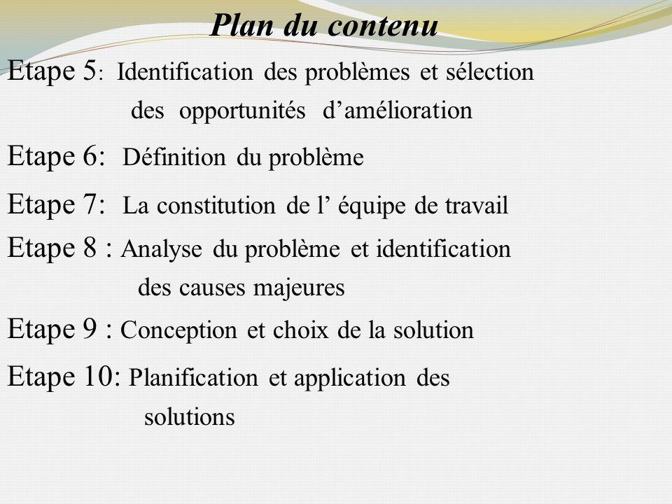 Plan du contenu Etape 5 : Identification des problèmes et sélection des opportunités damélioration Etape 6: Définition du problème Etape 7: La constit