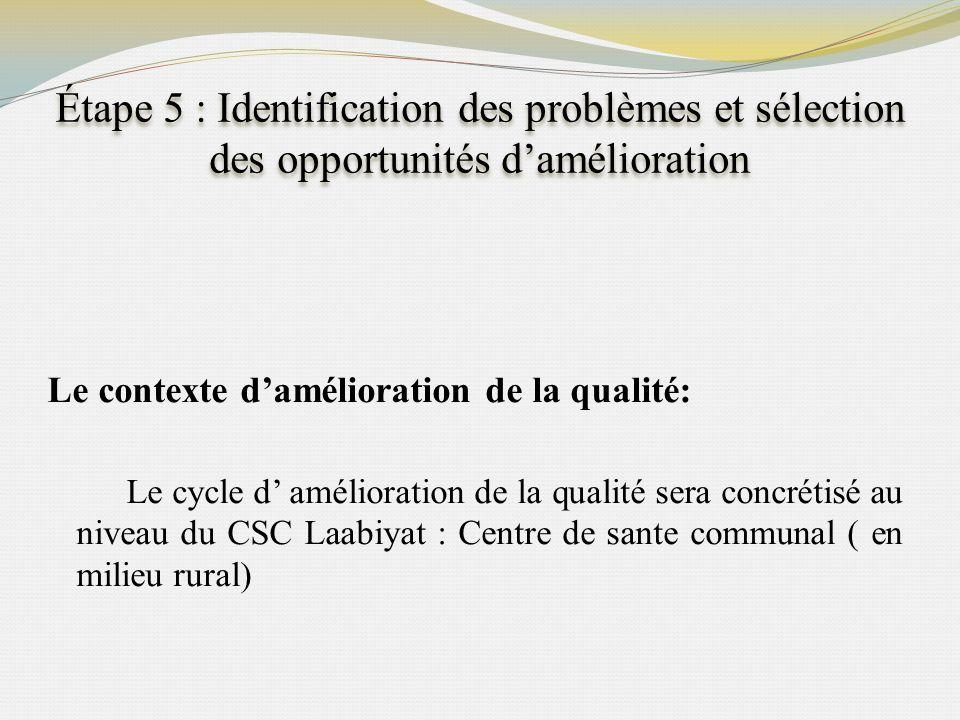 Étape 5 : Identification des problèmes et sélection des opportunités damélioration Le contexte damélioration de la qualité: Le cycle d amélioration de