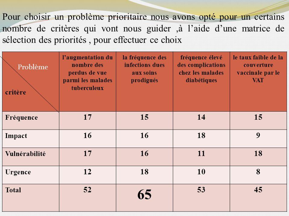 Pour choisir un problème prioritaire nous avons opté pour un certains nombre de critères qui vont nous guider,à laide dune matrice de sélection des pr