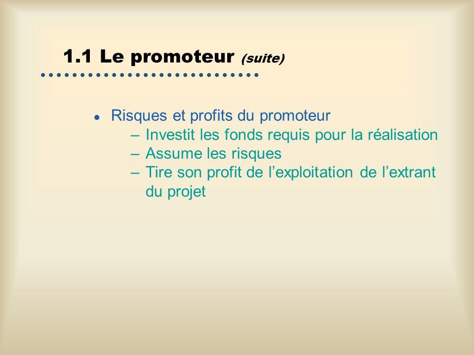 1.1 Le promoteur (suite) Risques et profits du promoteur –Investit les fonds requis pour la réalisation –Assume les risques –Tire son profit de lexplo