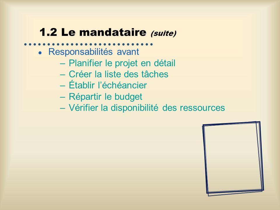 1.2 Le mandataire (suite) Responsabilités avant –Planifier le projet en détail –Créer la liste des tâches –Établir léchéancier –Répartir le budget –Vé