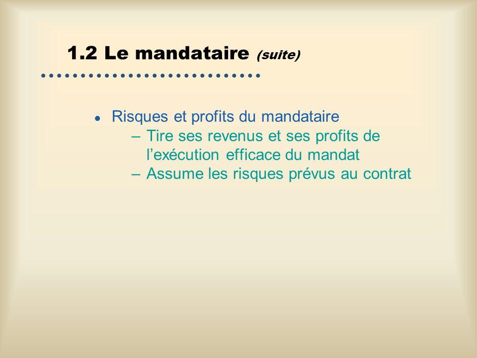 1.2 Le mandataire (suite) Risques et profits du mandataire –Tire ses revenus et ses profits de lexécution efficace du mandat –Assume les risques prévu