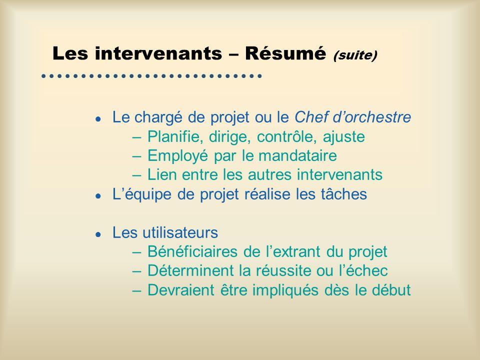 Les intervenants – Résumé (suite) Le chargé de projet ou le Chef dorchestre –Planifie, dirige, contrôle, ajuste –Employé par le mandataire –Lien entre