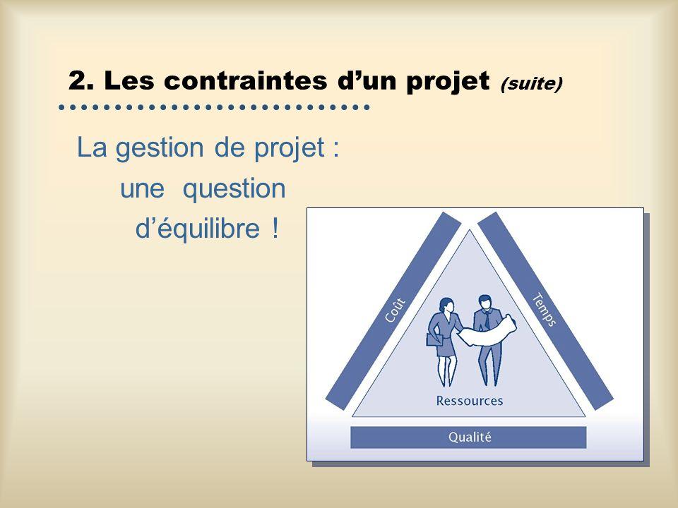2. Les contraintes dun projet (suite) La gestion de projet : une question déquilibre !