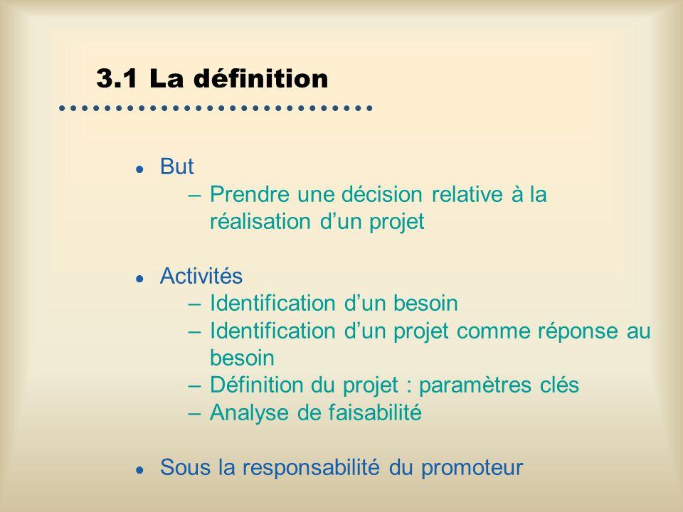 3.1 La définition But –Prendre une décision relative à la réalisation dun projet Activités –Identification dun besoin –Identification dun projet comme