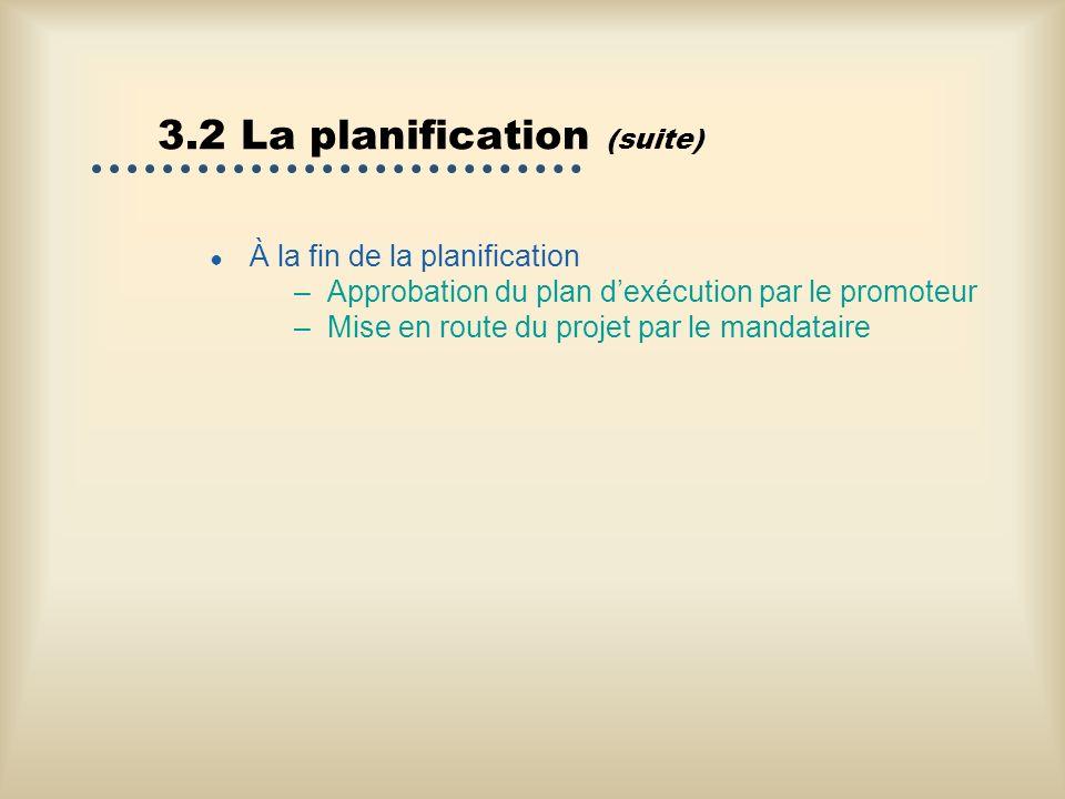 3.2 La planification (suite) À la fin de la planification –Approbation du plan dexécution par le promoteur –Mise en route du projet par le mandataire