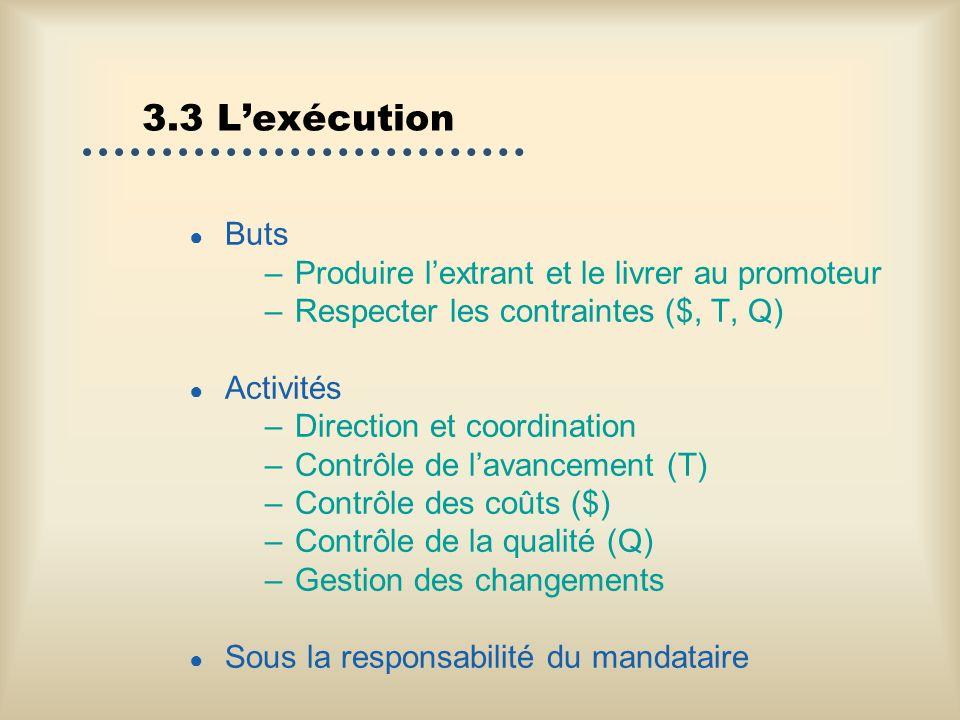 3.3 Lexécution Buts –Produire lextrant et le livrer au promoteur –Respecter les contraintes ($, T, Q) Activités –Direction et coordination –Contrôle d