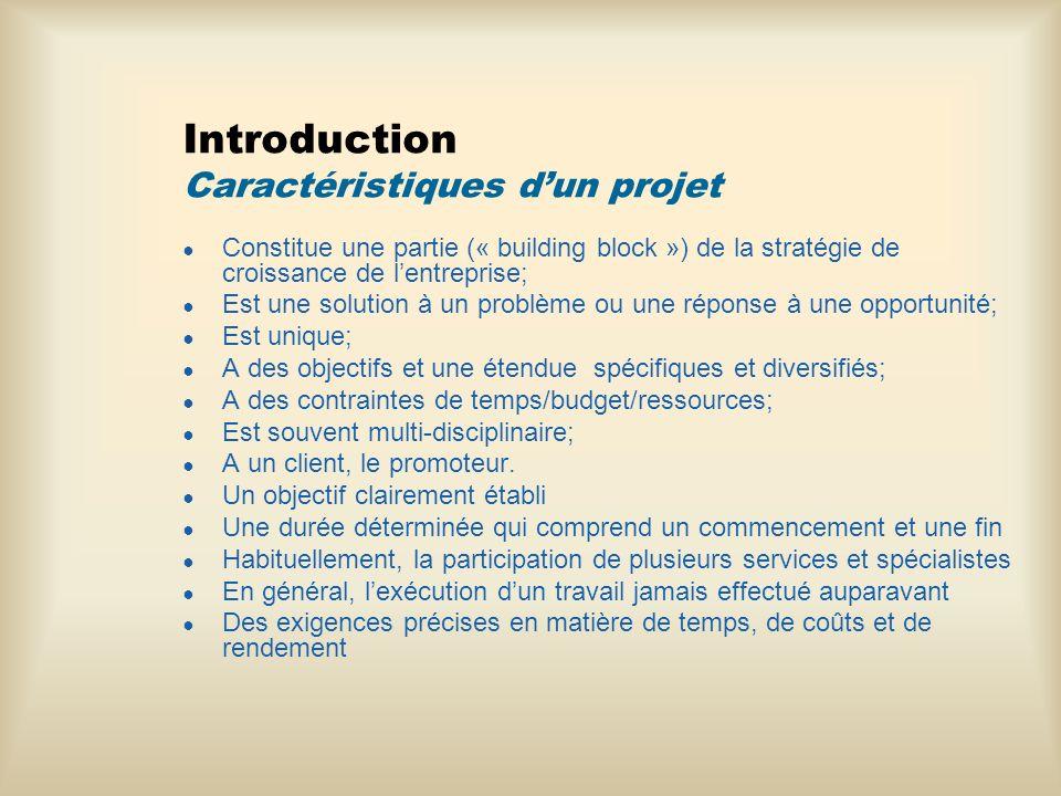 Introduction Caractéristiques dun projet Constitue une partie (« building block ») de la stratégie de croissance de lentreprise; Est une solution à un