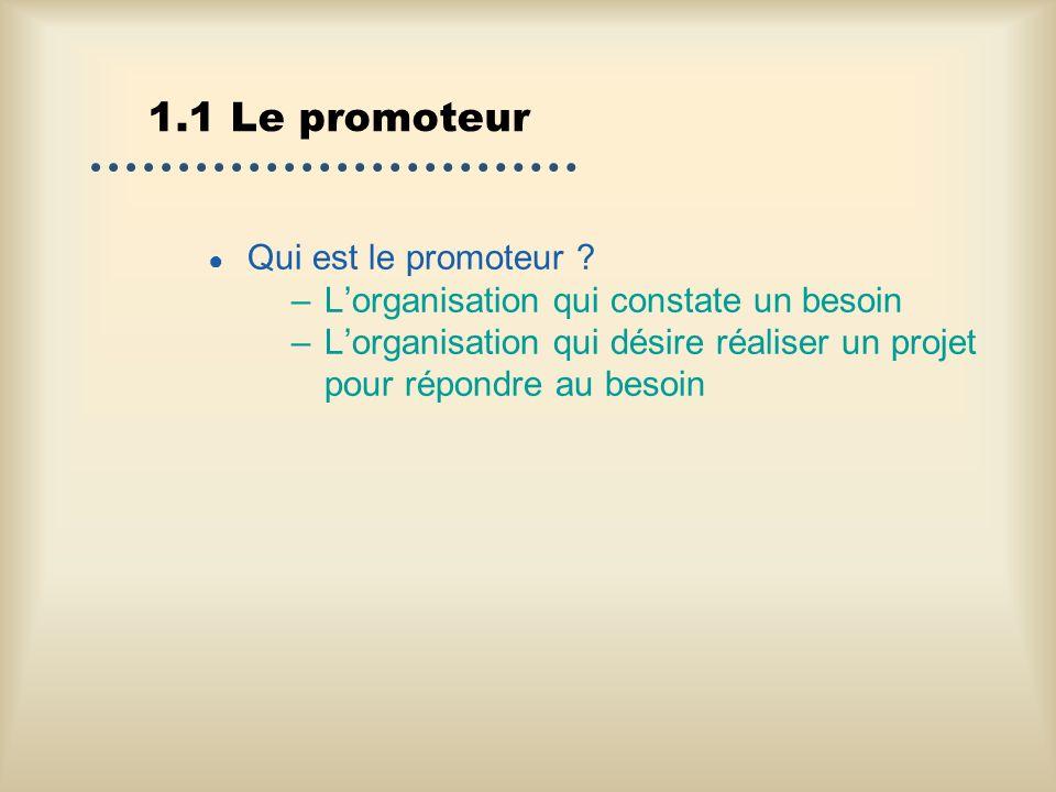 1.1 Le promoteur Qui est le promoteur ? –Lorganisation qui constate un besoin –Lorganisation qui désire réaliser un projet pour répondre au besoin