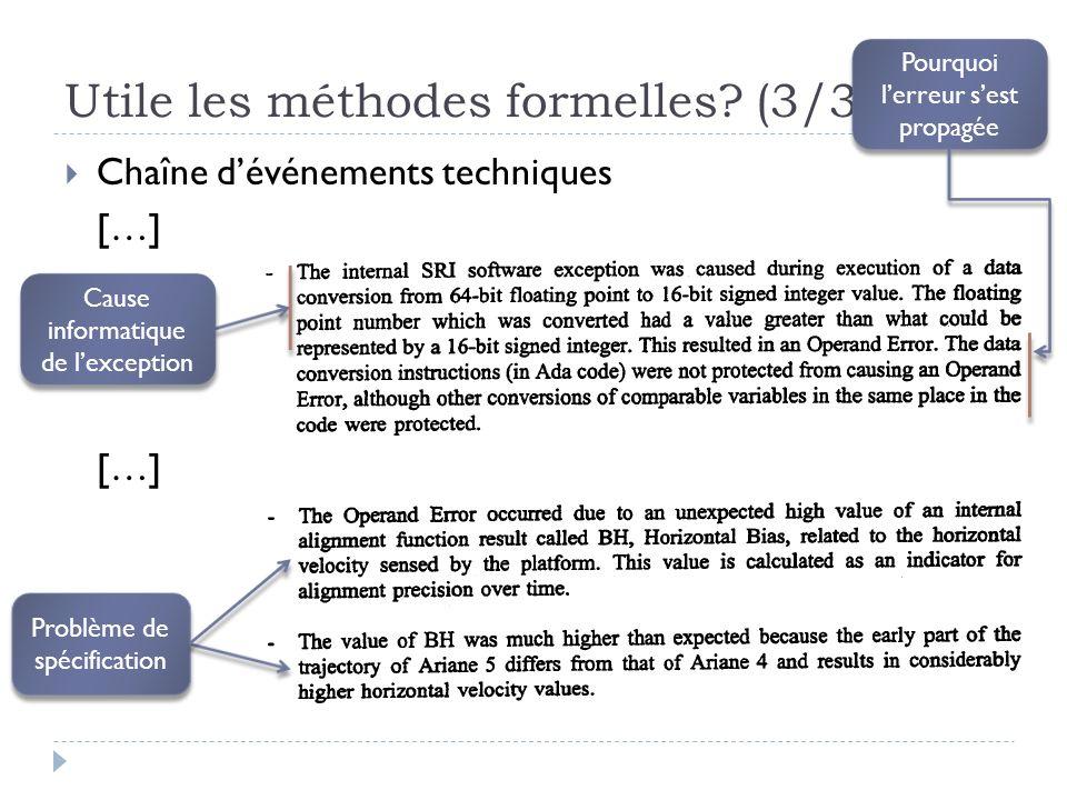 Utile les méthodes formelles? (3/3) Chaîne dévénements techniques […] Cause informatique de lexception Problème de spécification Problème de spécifica