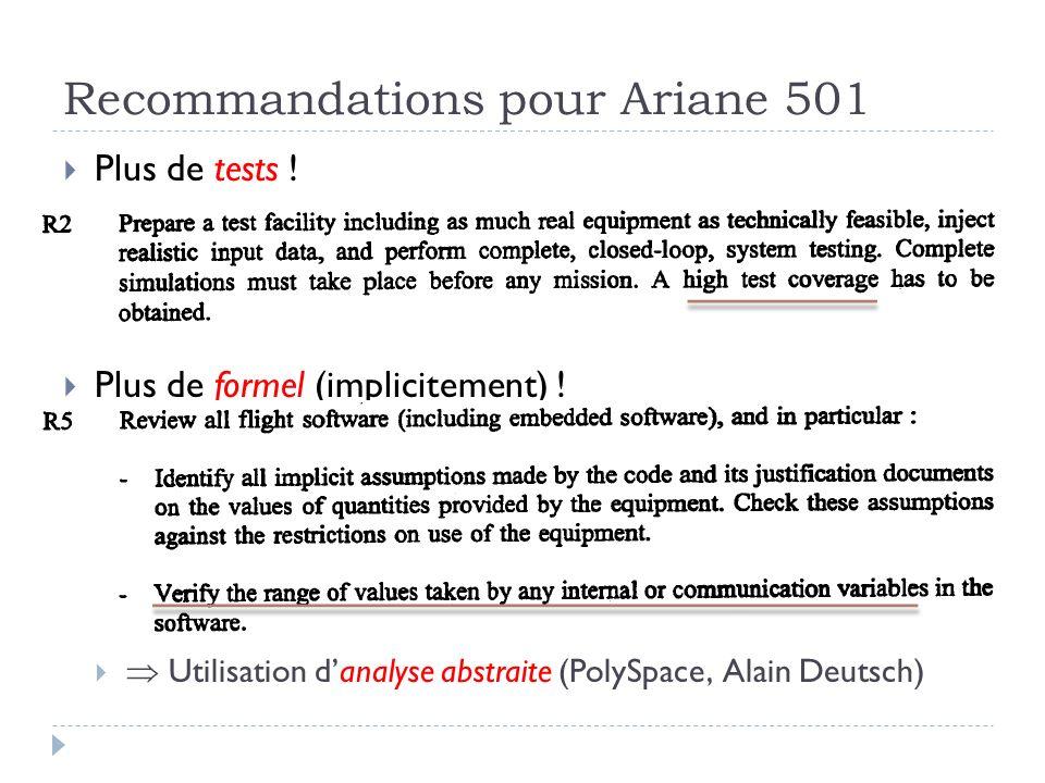 Recommandations pour Ariane 501 Plus de tests ! Plus de formel (implicitement) ! Utilisation danalyse abstraite (PolySpace, Alain Deutsch)