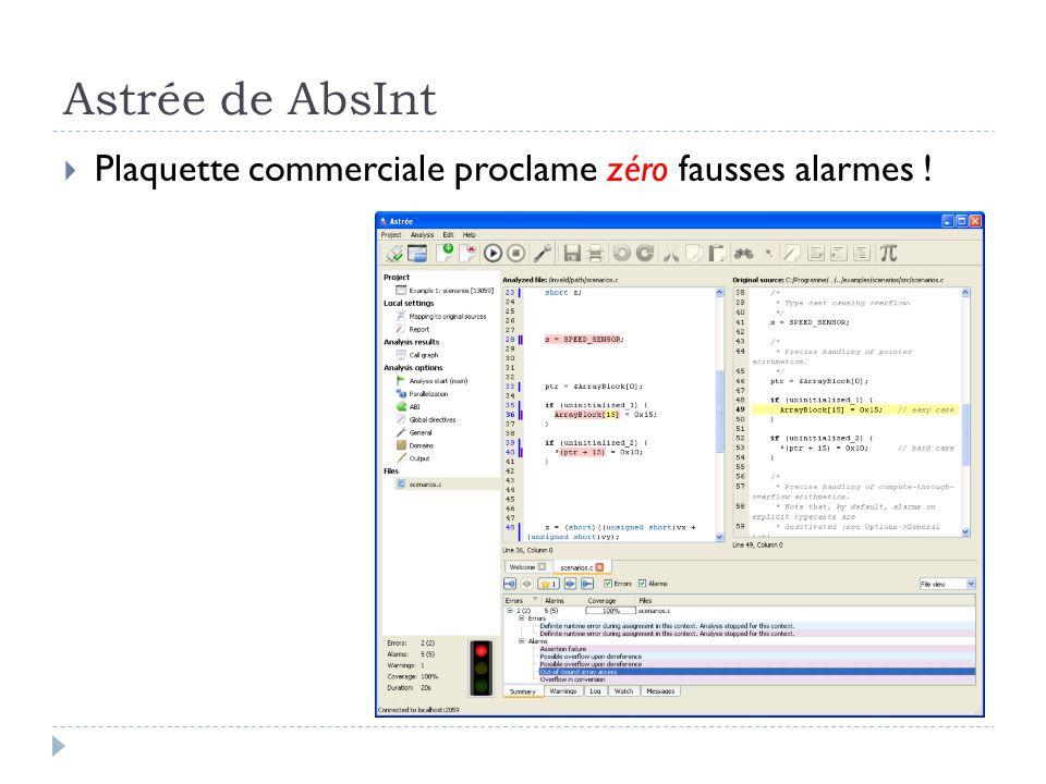 Astrée de AbsInt Plaquette commerciale proclame zéro fausses alarmes !