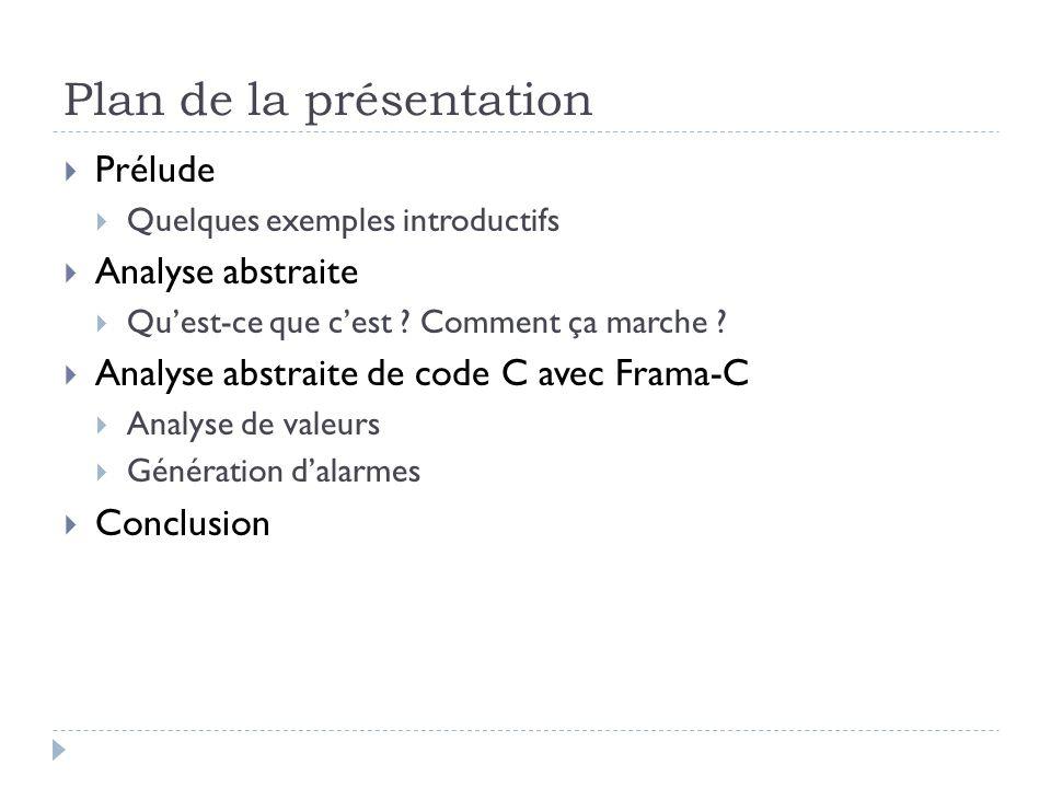 Plan de la présentation Prélude Quelques exemples introductifs Analyse abstraite Quest-ce que cest ? Comment ça marche ? Analyse abstraite de code C a