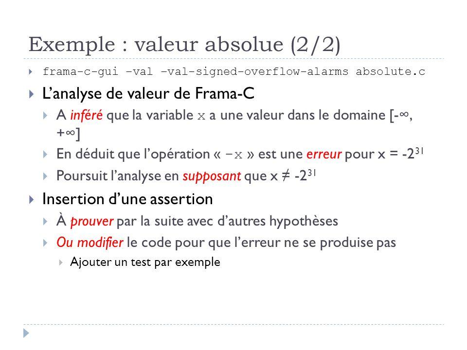 Exemple : valeur absolue (2/2) frama-c-gui –val –val-signed-overflow-alarms absolute.c Lanalyse de valeur de Frama-C A inféré que la variable x a une