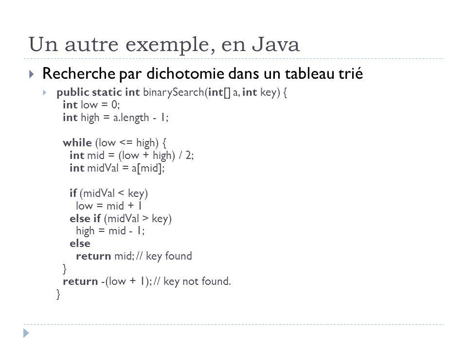 Un autre exemple, en Java Recherche par dichotomie dans un tableau trié public static int binarySearch(int[] a, int key) { int low = 0; int high = a.length - 1; while (low 2 31 -1 int midVal = a[mid]; if (midVal key) high = mid - 1; else return mid; // key found } return -(low + 1); // key not found.