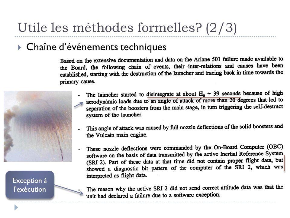 Utile les méthodes formelles? (2/3) Chaîne dévénements techniques Exception à lexécution