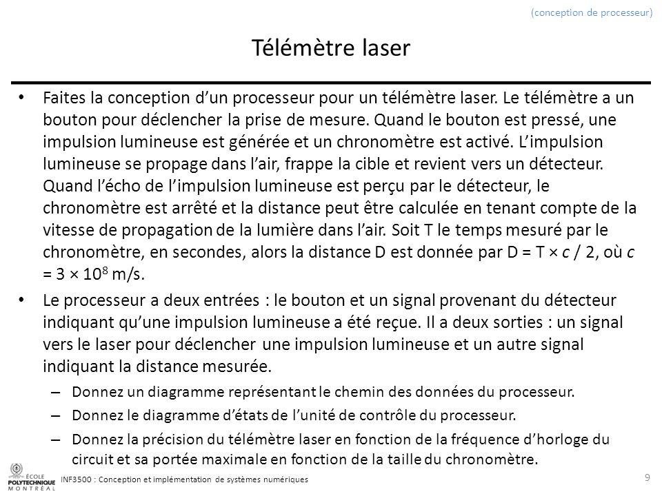 INF3500 : Conception et implémentation de systèmes numériques Télémètre laser Faites la conception dun processeur pour un télémètre laser. Le télémètr
