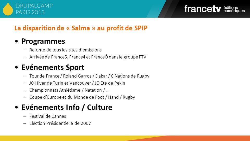 La disparition de « Salma » au profit de SPIP Programmes –Refonte de tous les sites démissions –Arrivée de France5, France4 et FranceÔ dans le groupe
