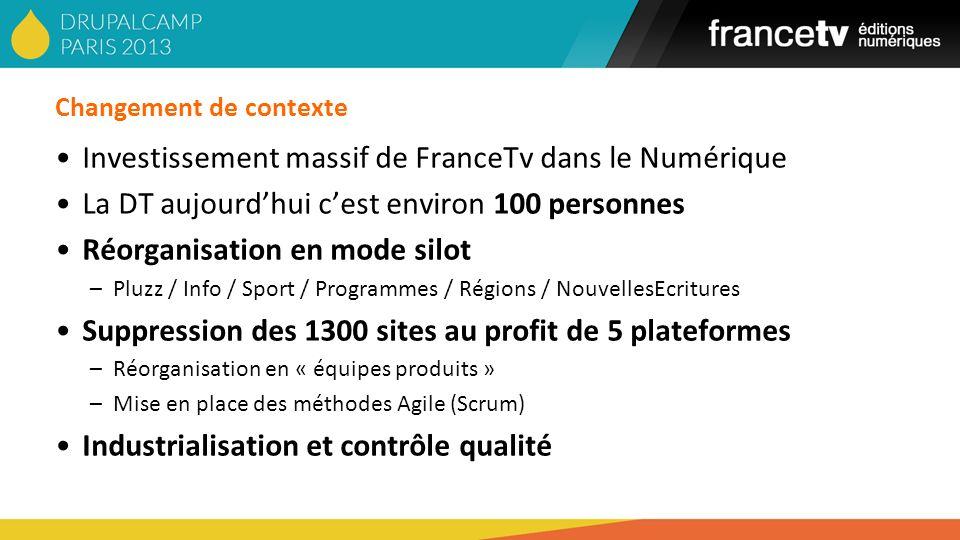 Changement de contexte Investissement massif de FranceTv dans le Numérique La DT aujourdhui cest environ 100 personnes Réorganisation en mode silot –P