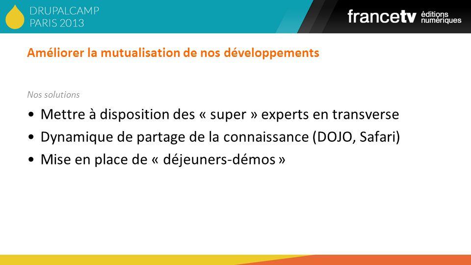 Améliorer la mutualisation de nos développements Nos solutions Mettre à disposition des « super » experts en transverse Dynamique de partage de la con