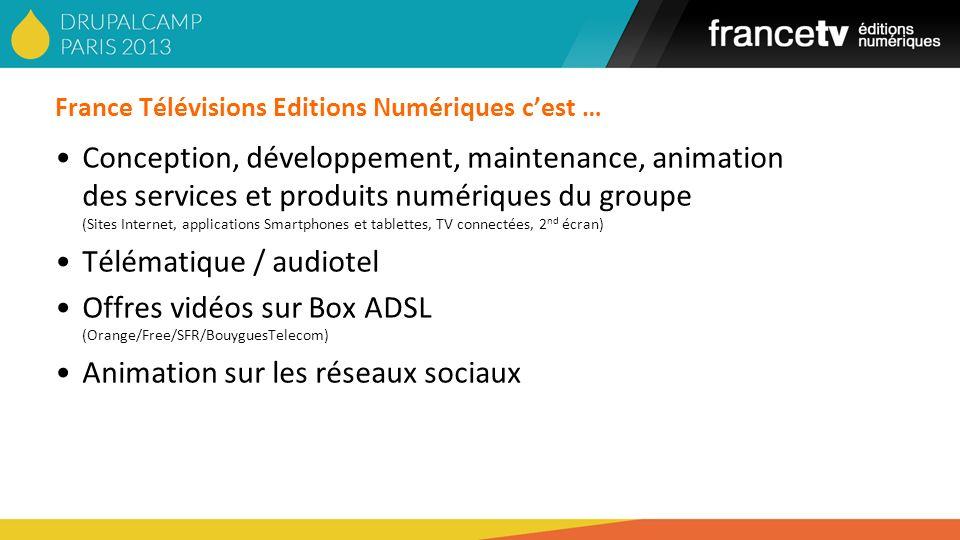 France Télévisions Editions Numériques cest … Conception, développement, maintenance, animation des services et produits numériques du groupe (Sites I