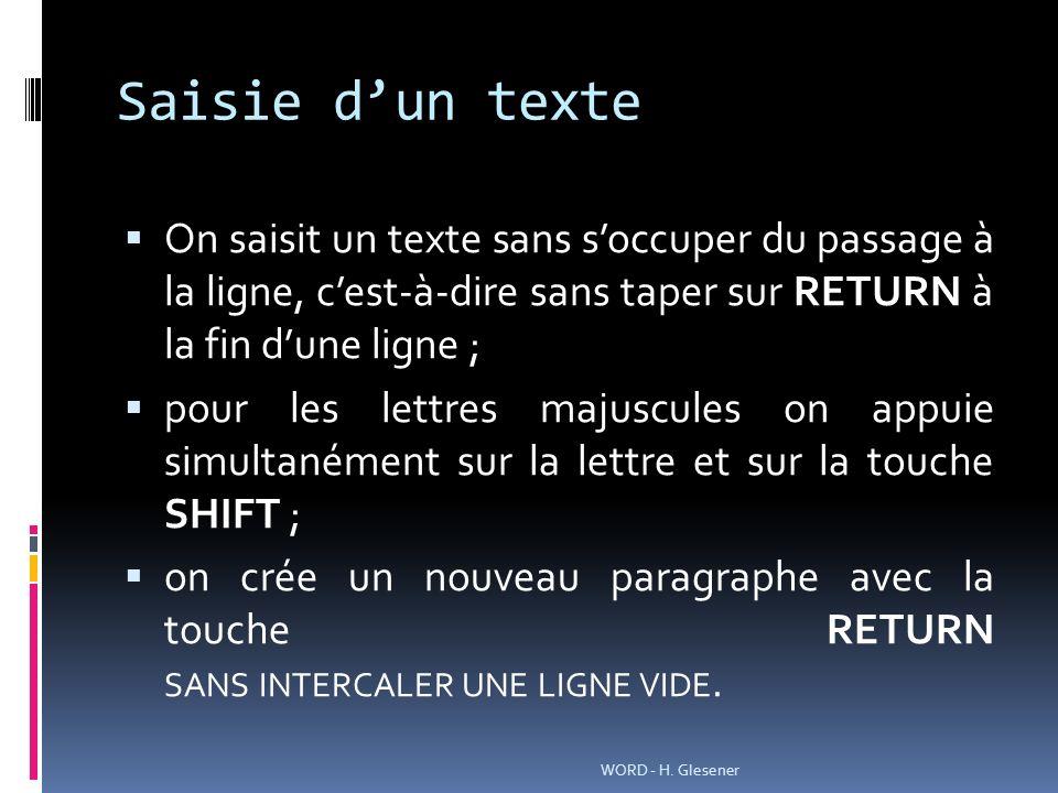Saisie dun texte On saisit un texte sans soccuper du passage à la ligne, cest-à-dire sans taper sur RETURN à la fin dune ligne ; pour les lettres maju