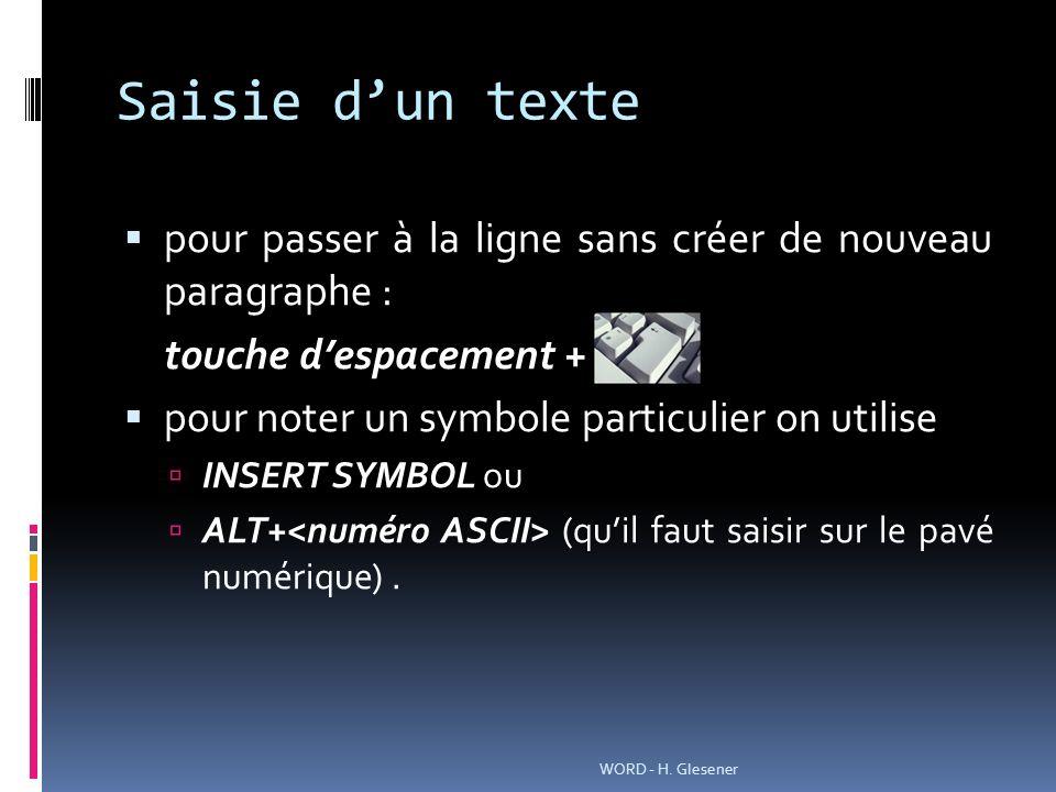 Saisie dun texte pour passer à la ligne sans créer de nouveau paragraphe : touche despacement + pour noter un symbole particulier on utilise INSERT SY