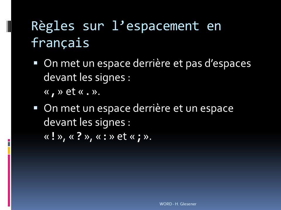 Règles sur lespacement en français On met un espace derrière et pas despaces devant les signes : «, » et «. ». On met un espace derrière et un espace