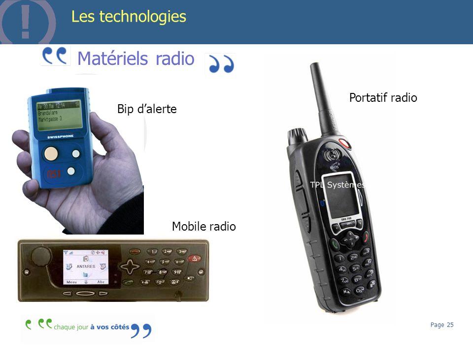 Page 25 Les technologies Matériels radio Bip dalerte Portatif radio Mobile radio