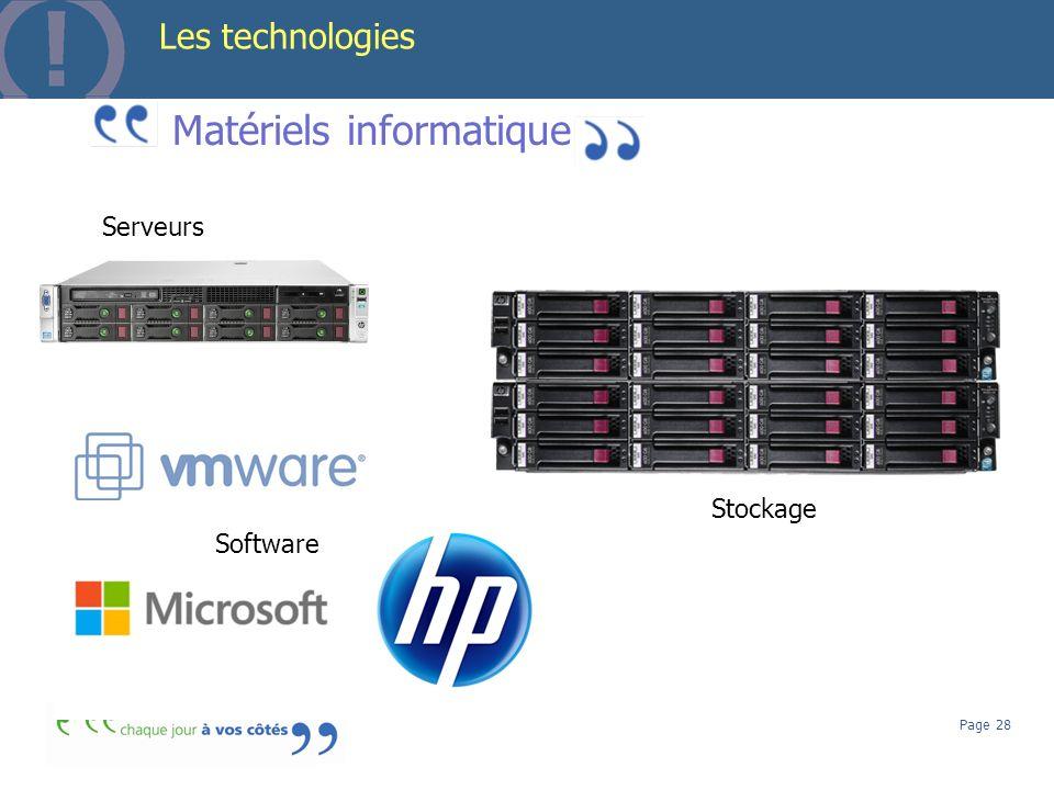 Page 28 Les technologies Matériels informatique Serveurs Stockage Software