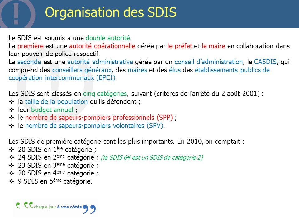 Organisation des SDIS Le SDIS est soumis à une double autorité. La première est une autorité opérationnelle gérée par le préfet et le maire en collabo