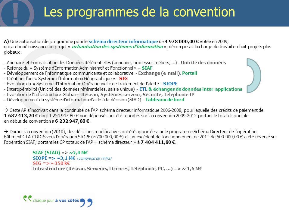 Page 58 Les programmes de la convention A) Une autorisation de programme pour le schéma directeur informatique de 4 978 000,00 votée en 2009, qui a do