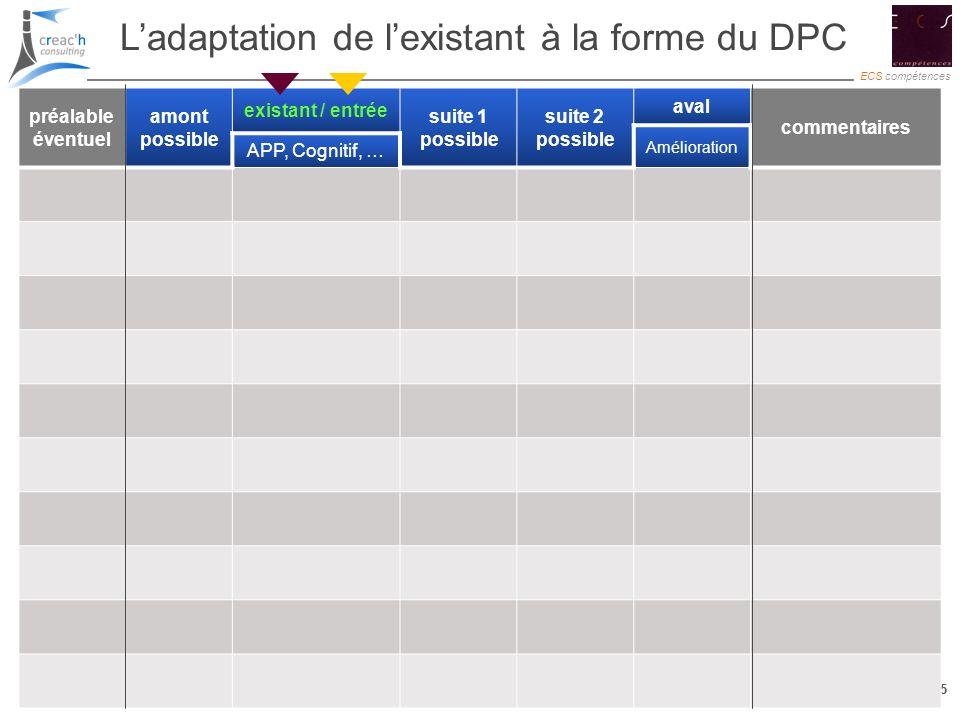 15 ECS compétences 15 Ladaptation de lexistant à la forme du DPC préalable éventuel amont possible existant / entrée suite 1 possible suite 2 possible
