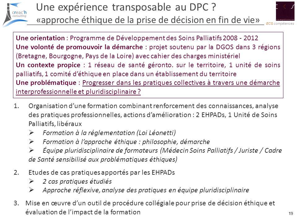 19 ECS compétences 19 Une expérience transposable au DPC ? «approche éthique de la prise de décision en fin de vie» Une orientation : Programme de Dév