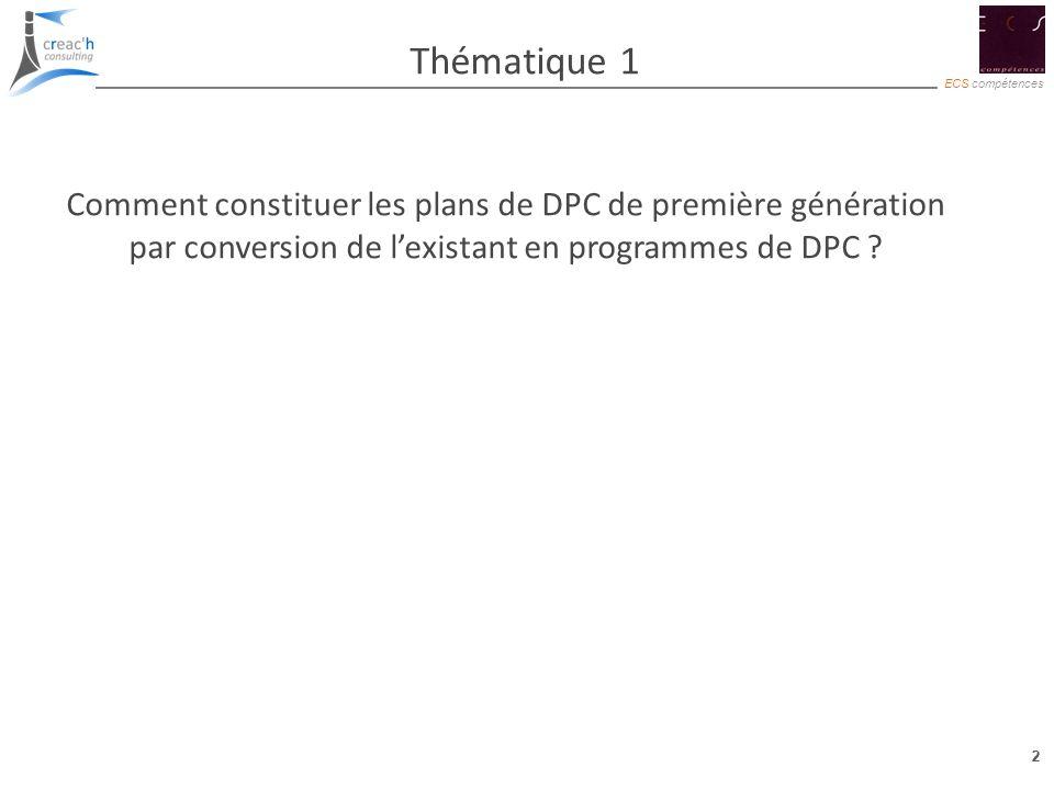 2 ECS compétences 2 Thématique 1 Comment constituer les plans de DPC de première génération par conversion de lexistant en programmes de DPC ?