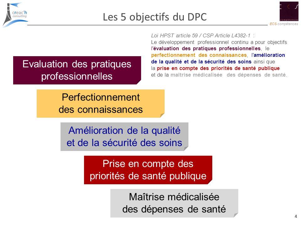 4 ECS compétences 4 Les 5 objectifs du DPC Amélioration de la qualité et de la sécurité des soins Evaluation des pratiques professionnelles Perfection