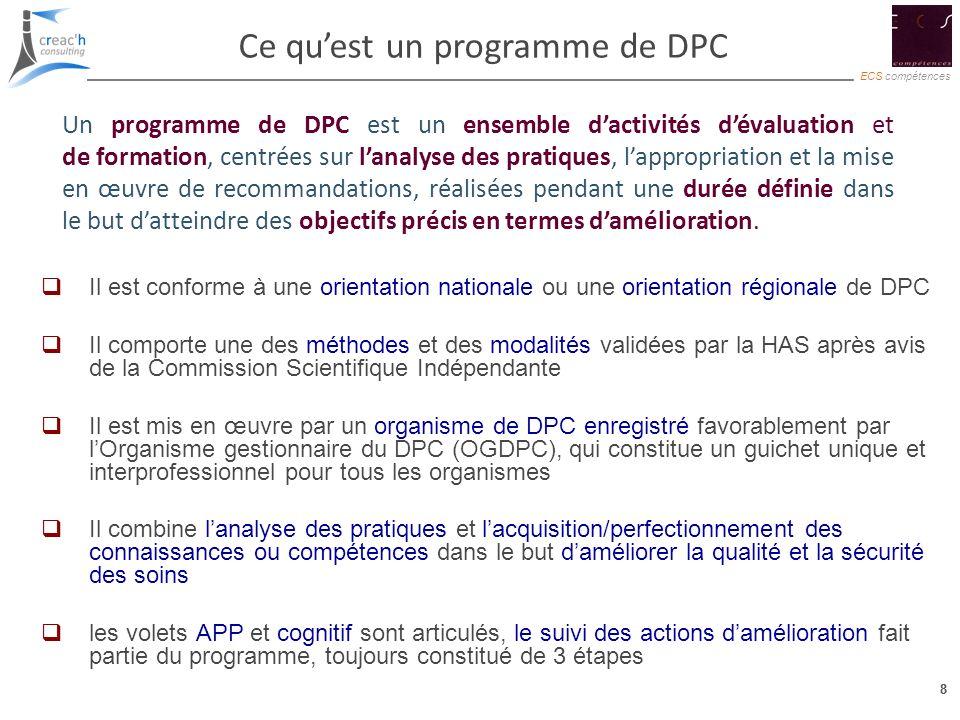 8 ECS compétences 8 Ce quest un programme de DPC Il est conforme à une orientation nationale ou une orientation régionale de DPC Il comporte une des m