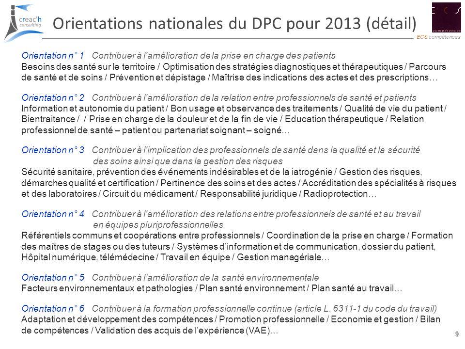 9 ECS compétences 9 Orientations nationales du DPC pour 2013 (détail) Orientation n° 1 : Contribuer à l'amélioration de la prise en charge des patient