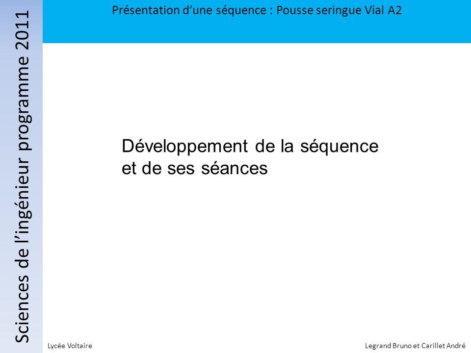 Sciences de lingénieur programme 2011 Présentation dune séquence : Pousse seringue Vial A2 Lycée Voltaire Legrand Bruno et Carillet André Développemen