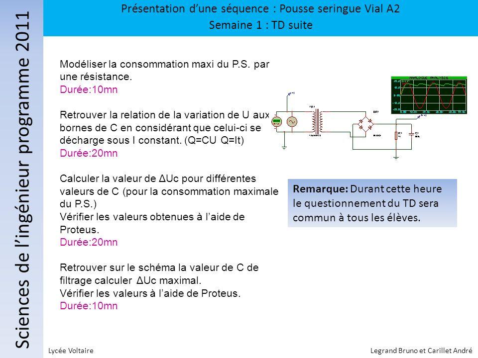 Sciences de lingénieur programme 2011 Présentation dune séquence : Pousse seringue Vial A2 Semaine 1 : TD suite Lycée Voltaire Legrand Bruno et Carill