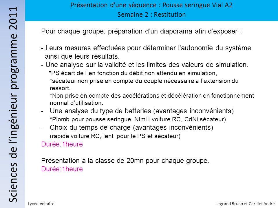 Sciences de lingénieur programme 2011 Présentation dune séquence : Pousse seringue Vial A2 Semaine 2 : Restitution Lycée Voltaire Legrand Bruno et Car