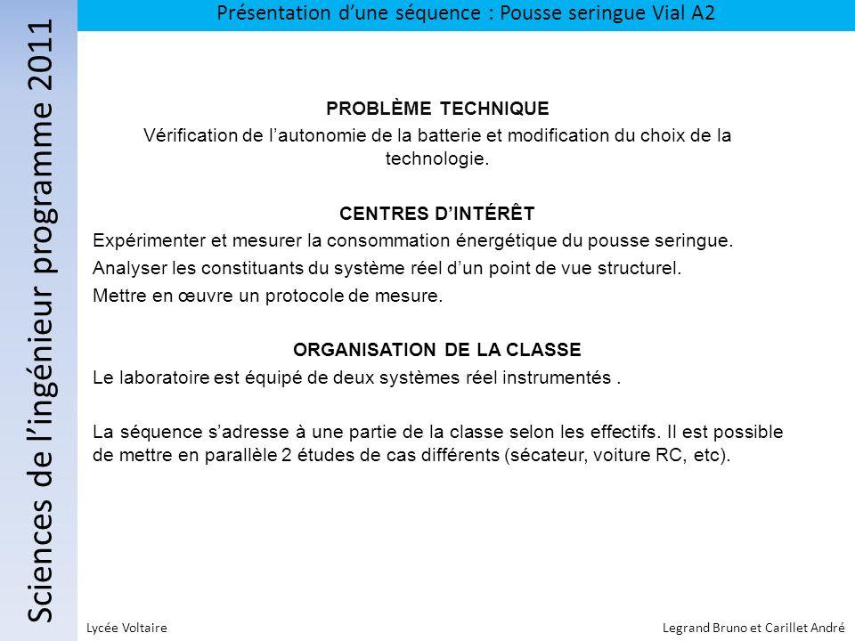 Sciences de lingénieur programme 2011 Présentation dune séquence : Pousse seringue Vial A2 Lycée Voltaire Legrand Bruno et Carillet André PROBLÈME TEC