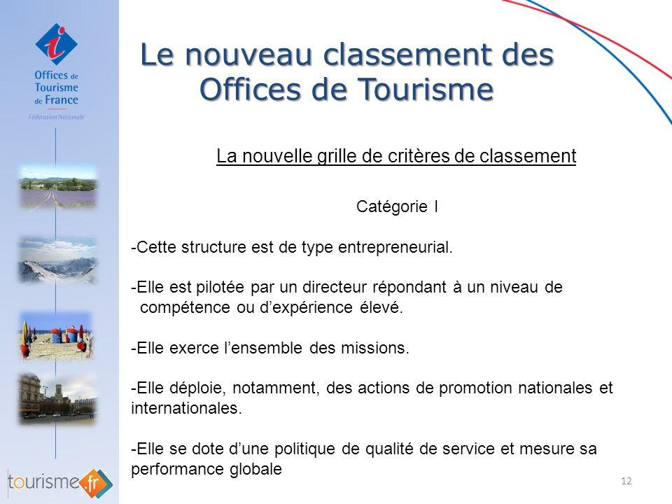 Le nouveau classement des Offices de Tourisme 12 La nouvelle grille de critères de classement Catégorie I -Cette structure est de type entrepreneurial
