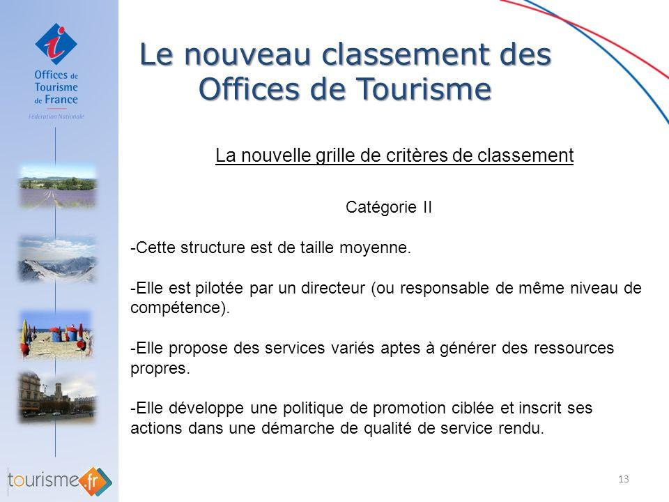 Le nouveau classement des Offices de Tourisme 13 La nouvelle grille de critères de classement Catégorie II -Cette structure est de taille moyenne. -El