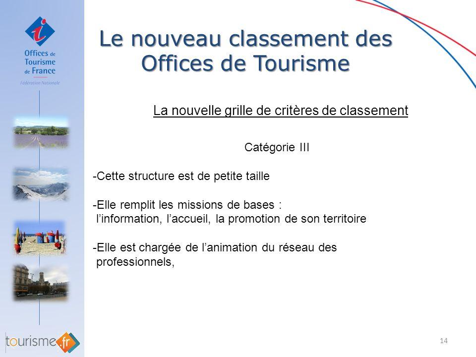 Le nouveau classement des Offices de Tourisme 14 La nouvelle grille de critères de classement Catégorie III -Cette structure est de petite taille -Ell