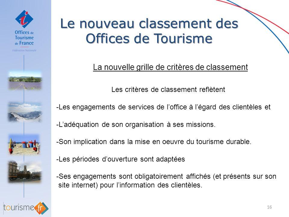 Le nouveau classement des Offices de Tourisme 16 La nouvelle grille de critères de classement Les critères de classement reflètent -Les engagements de
