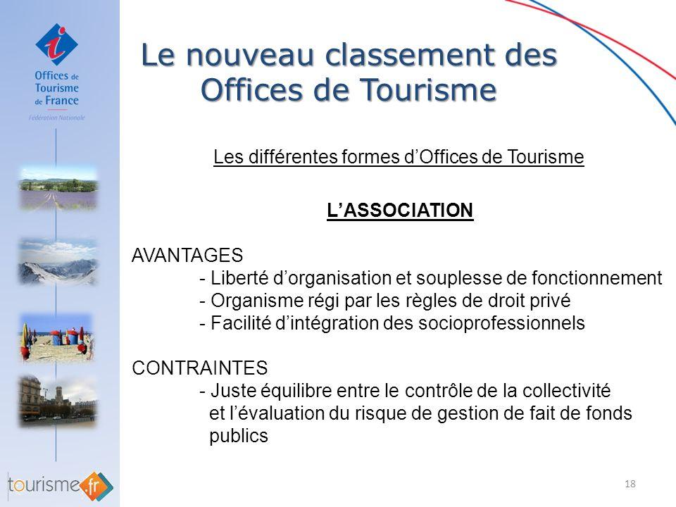 Le nouveau classement des Offices de Tourisme 18 Les différentes formes dOffices de Tourisme LASSOCIATION AVANTAGES - Liberté dorganisation et souples