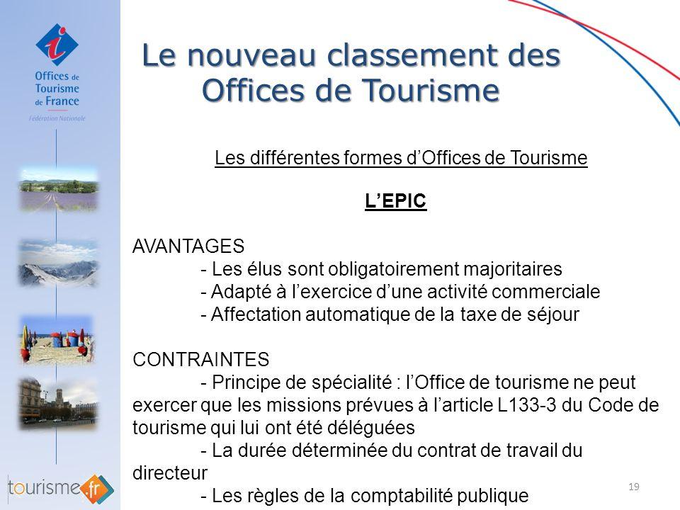 Le nouveau classement des Offices de Tourisme 19 Les différentes formes dOffices de Tourisme LEPIC AVANTAGES - Les élus sont obligatoirement majoritai